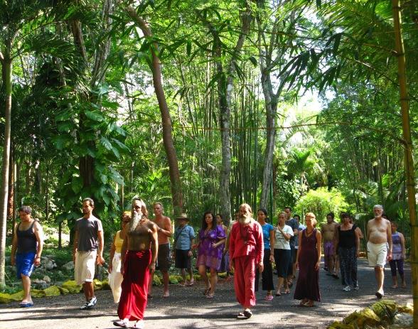 swami rajneesh on blue pranic light and trees